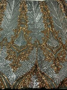 Silver- Sequins 2 Tone- 4 Way Stretch Spandex Black Mesh Lace-Fabric By The Yard