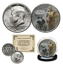 R2-D2 / C-3PO - STAR WARS Genuine 1977 JFK Kennedy Half Dollar US Coin LICENSED
