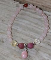 Rose Quartz Love Joy Bracelet Rhodochrosite Citrine Rhodonite Crystal Healing