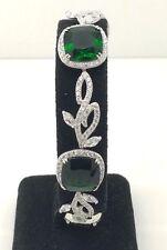 "Sterling Silver Cushion Green Tourmaline CZ Halo Leaf Tennis Bracelet 7.75"""