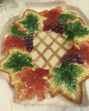 Fitz and Floyd Autumn Splendor Oval Serving Plate with Lattice, Grapes,Leaves 9""