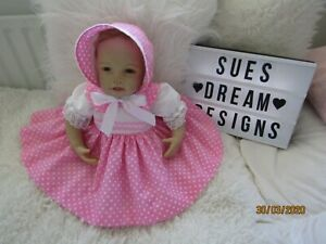 CLOTHES FOR BABY 3-6 mths REBORN 20-22IN  PINK SPOT COTTON DRESS SET NEW