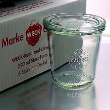 6 WECK ® Einkochgläser 290ml Sturzform RR 80 mm mit Glasdeckel - Auswahl Zubehör