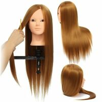 24'' Human Hair Hairdressing Training Head Makeup Practice Mannequin Salon  A