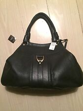 $495 New/NWT Cole Haan Black Saddle Unit Leather Triple Comp Large Triangle Tote
