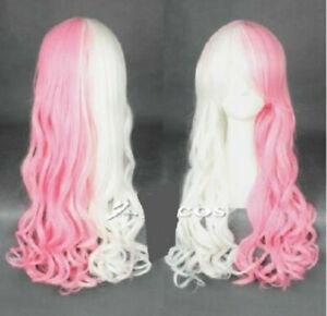 Women Wig Long Classic Cosplay Wig White Pink Wig