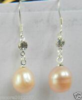 New Natural 10-11mm pink Freshwater Pearl Silver Hook Earrings