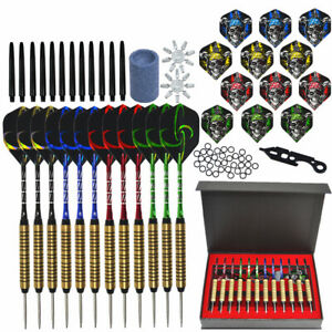 6/12PCS Set Professional Steel Tip Aluminum Barrel Flight Darts Storage Case