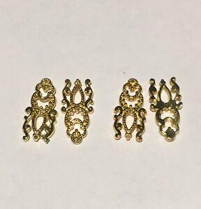3D Golden Finger Nail Art Charms Alloy Metal Jewellery Glitter Decoration - 2pcs