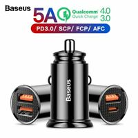 Baseus Quick Charge 4.0 3.0 USB PD Type-C Car Charger for Samsung iphone Huawei