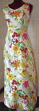 "Vintage Women's Hawaiian Aloha dress 1960s Kahala Maxi ""V"" back, floral Size 10"