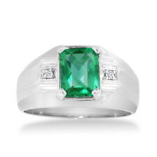 10K GOLD 2 1/4CT EMERALD CUT CREATED EMERALD AND DIAMOND MEN'S RING