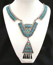 Fabulous Zuni Needlepoint Turquoise & Sterling Necklace