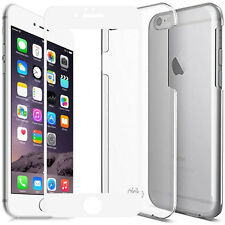"""iPhone 6 6s 4.7"""" Ultra Clear Slim Fit Protective Case + 9H Tempered Glass White"""