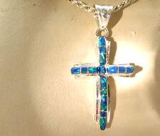 """1.25"""" Black FIRE OPAL Cross Sterling Silver Sterling Silver 925 Ladies Girl"""