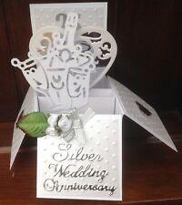 Handmade Silver 25th wedding anniversary pop up card