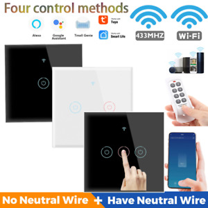 1/2/34 Gang WIFI Smart Wall Switch Touch Panel Light  For Assistant/Alexa/Google