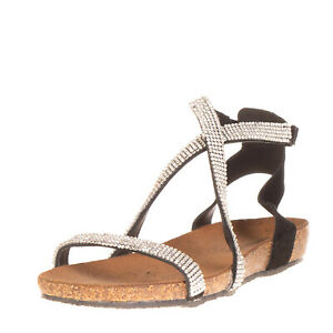 AMUST Leather Ankle Strap Sandals EU 36 UK 3 US 6 Rhinestones Made in Italy