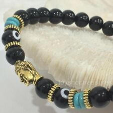 Natural Obsidian Turquoise Evil Eye Gold Buddha Bead - Stretch Fit