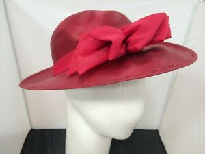 Ladies Unbranded Deep Red Bow Detail Wedding Occasion Hat One Size Charity #CF