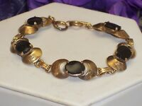Vintage Signed BB 1/20 12K Gold Filled Link Bracelet Black Flat Glass Stones