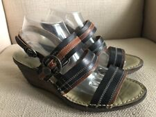 Fly London Salm Negro Black Brown leather wedge slingback sandals EUR 41 US 10
