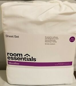 Room Essentials Microfiber Solid White Sheet Set Twin/Twin XL