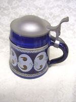 Beautiful Antique Cobalt Blue Stein with Pewter Lid Germany