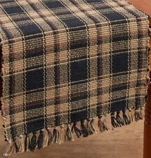 Primitive Country Monroe Table Runner 13X36 Black Brown Plaid Ribbed Cotton