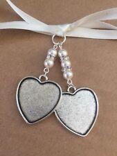 Bridal Bouquet Double Heart Photo Frame Memory Charm Handmade Swarovski Beads