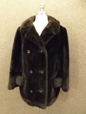 Vtg Dark Brown Thick Plush Borgana Faux Fur Dbl Breasted Back Belted Coat Sz L