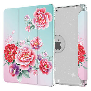 """For iPad 8th/7th Gen 10.2"""" Trifold Stand Cover Magnetic Flip Glitter Clear Case"""