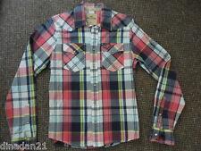 Hollister shirt, size M, long sleeve, check blue/pink/yellow