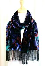 "SWEE LO 10""x60"" BLACK BLUE GREEN MULTICOLOR VELVET FRINGE LINED SHAWL SCARF"