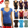 Women Plus Size Bodycon Crop Tops V Neck Short Sleeve Top Pleated Blouse T-shirt