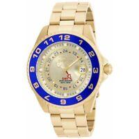 New Invicta 17153 Men's Pro Diver Gold Dial Blue Bezel GMT Dive 47mm Watch SALE