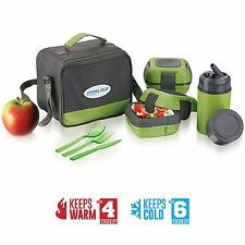 Lunch Box Bag Set for Adults and Kids ~ Pinnacle  Leakproof Thermo Lunch (green)