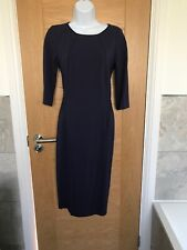 MarcCain Blue Purple Midi Dress 12 N3 Office Wedding Guest  Round Neck Designer