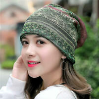 Women Cotton Ethnic Plaid Multifunctional Beanie Hat Scarf Vintage Elastic Cap