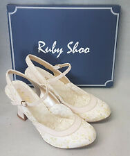 New Ruby Shoo Lucia Cream Lemon Mary Jane Slingback Strap High Heel Shoes Size 8