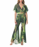 Green Trouser Set Size 12 Ladies Womens With Crop Top Abstract Flare Pants