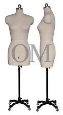 Pinnable Female Mannequin Dress Form, W/ Heavy Duty Rolling Base, Size 6 (mt 6)