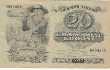 Billet banque ESTONIE ESTONIA EESTI 20 krooni 1932 état voir scan 565