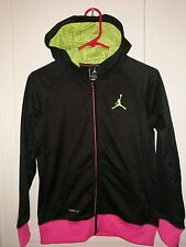NEW-NWT-Nike Air Jordan Hoodie Jacket Full zip Black/Pink- Girls Youth- Sz-S-M-L
