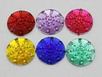 50 Mixed Colour Flatback Round Dotted Cabochon Rhinestone 18mm Flat back Resin