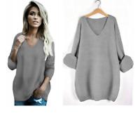 Pullover Damen Oversize Strickjacke Pulli Tunika Locker Lang V-Ausschnitt Weiß ♥