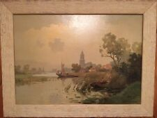 JAN KNIKKER, JR- WATERSCAPE WITH FISHERMAN+BUILDINGS- OIL ON CANVAS- WILDFIRES