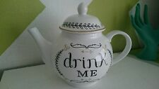 Large Shabby Porcelain Coffee Tea Pot Vintage White DRINK ME Teapot Alice NEW