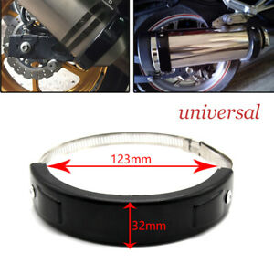 Motorcycle Scooter Oval Exhaust Protector Can Cover Black 100mm-140mm Universal