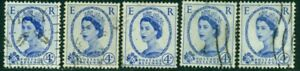 GREAT BRITAIN SG-521, SCOTT # 298, USED, 5 STAMPS, GREAT PRICE!